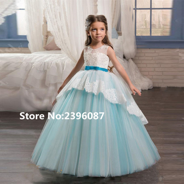 New Blue Tulle Ball Gown Princess   Flower     Girl     Dresses   Lace Sleeveless O-Neck First Communion   Dress   Vestidos de comunion 2019