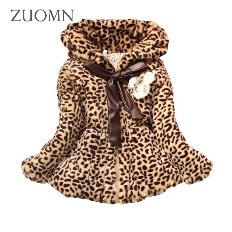 Fuax Fur Coats Warm Winter Baby Girls Cotton Lolita Style Leopard Printed Jackets Kids Infant Thick Outerwears Baby Clothes G298 winter fashion kids girls raccoon fur coat baby fur coats