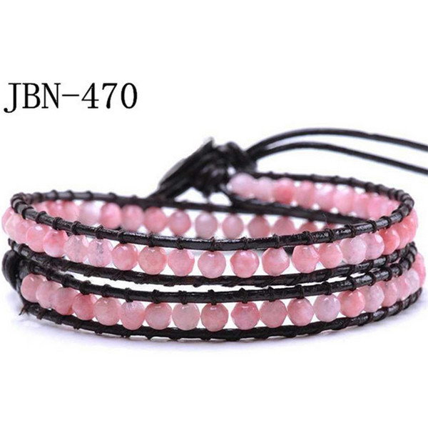 Free Shipping New Arrivals handmade bracelet Simple design leather multi style bracelet 4mm pink stone weave JBN-470