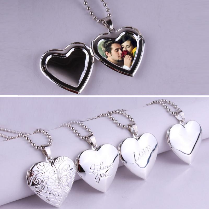 Valentine Lover Gift Animal Photo Frames Can Open Locket Necklaces Heart Pendant Necklace Jewelry For Women Girlfriend Gift(China)
