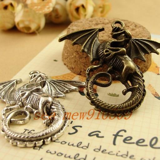 43*46MM Antique bronze/silver/gold color vintage style metal zinc alloy dragon pendant charm diy jewelry
