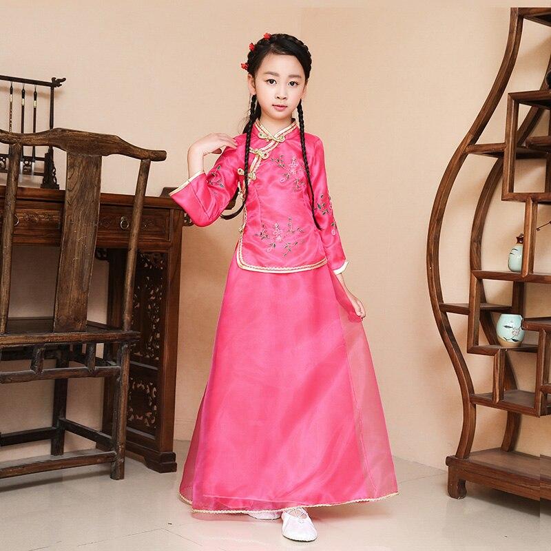 Nueva llegada niños chino tradicional traje Top + falda 2 unids ...