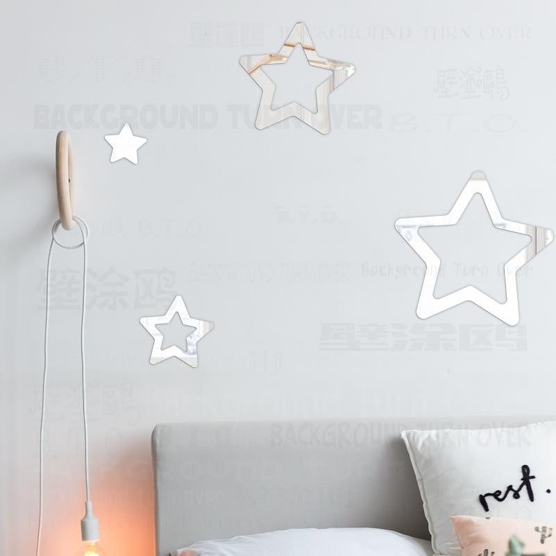 Kreative Nette Hohl Sterne 3D Spiegel Wandaufkleber Für Kinderzimmer - Wohnkultur