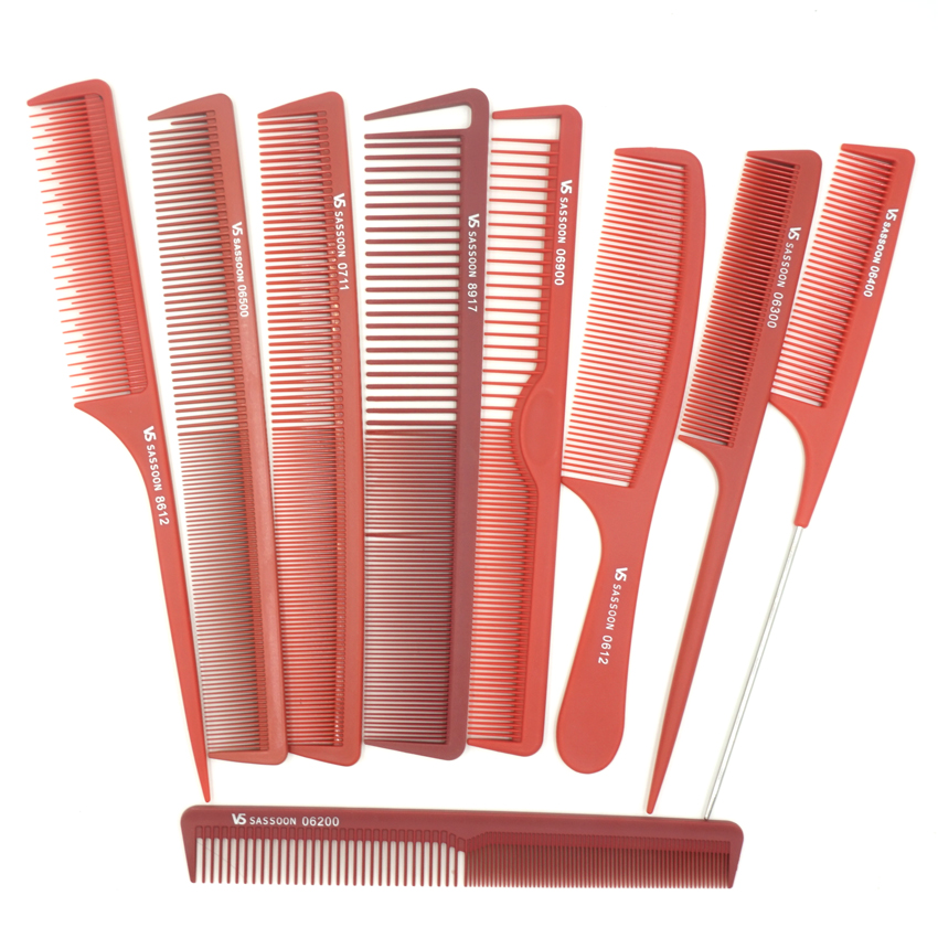 Hair Salon Tools Pro Classic Hair Dressing Comb En 9 diseños Barber Tail Comb Y Plain Cut Comb In Color Color Anti Combatic