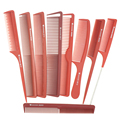 Hair Salon Tools Pro Classic Hair Dressing Comb In 9 Designs Barber Tail Comb And Plain Cut Comb In Red Color Antistatic Comb