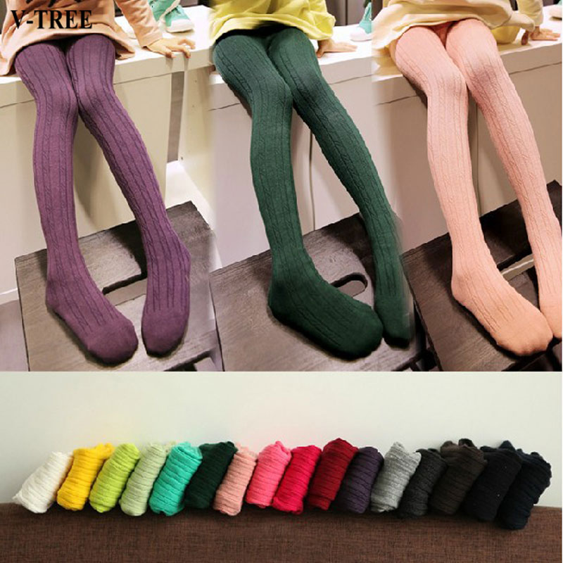V-TREE Baby Tights Vertical Striped Child Pantyhose Knitted Girls Stockings Candy Color Tights For Kids School Stockings pretty womens open toe sheer ultra thin tights pantyhose stockings leggings