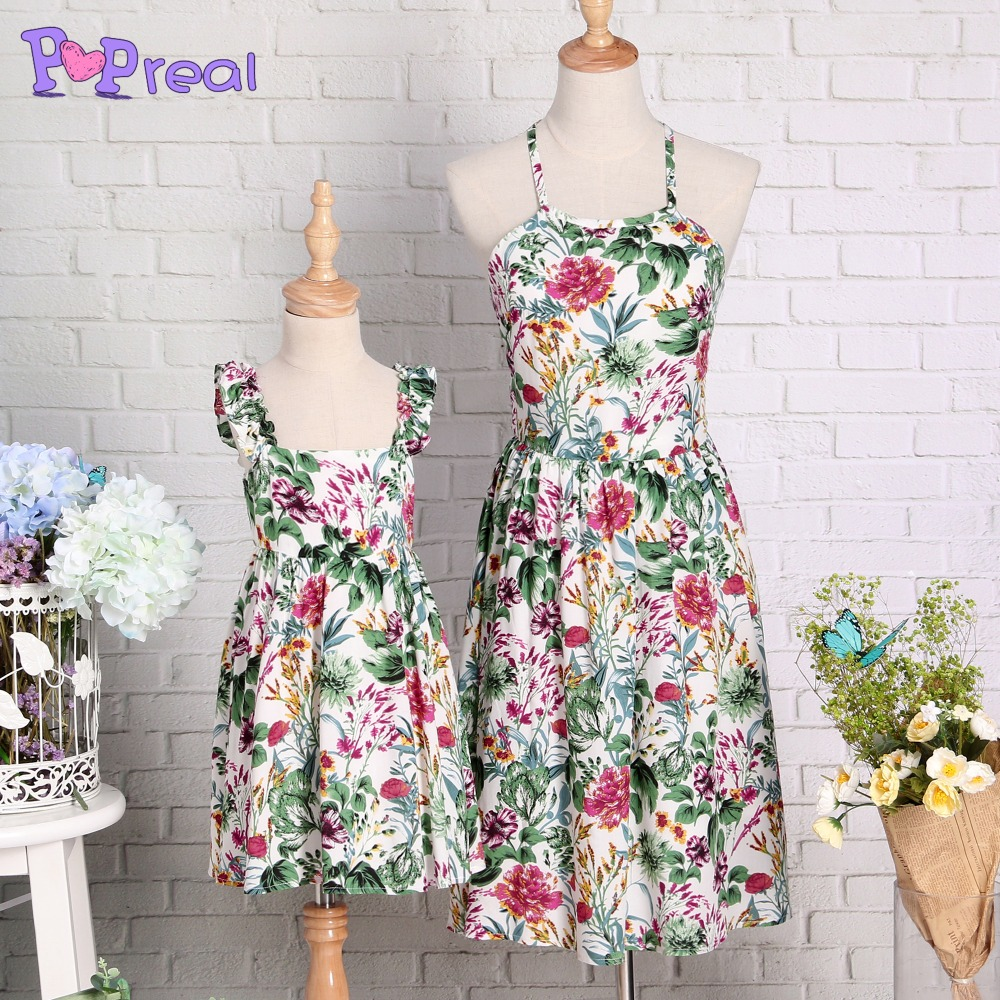 PopReal Mother Daughter Dress Nature Scenary Cami Family Matching Clothes Cotton Sleevel ...
