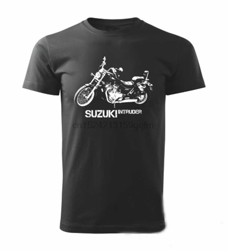Runxin New Customized Suzuki Motorcycles Logo Fashion Funny Tshirts O-Neck for Mens Black