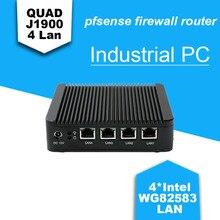 Hot Barebone mini pc J1900 Quad core 4 LAN 1080P mini pc 2016 router j1900 with 1*VGA, 2*usb firewall Multi-function home router