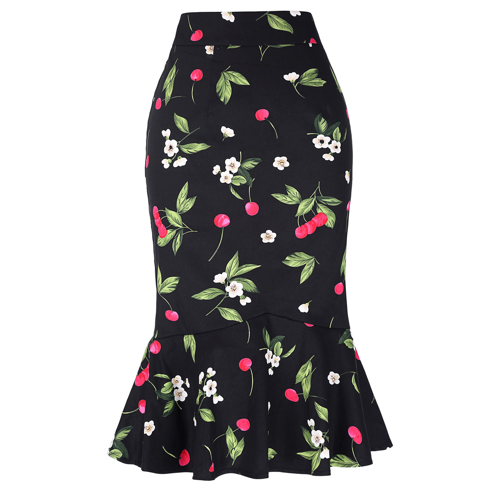 New Fashion Womens OL Office Skirt High Waist Cotton Bodycon Formal Vintage Floral Black Mermaid Pencil Ladies Midi Skirt 2017