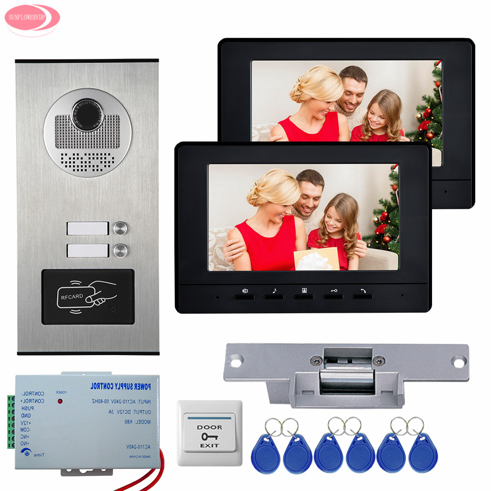 7Inch LCD Video Door Phone Intercom System 2 Monitors White/Black +RFID Access Door Camera for 2 Apartment Strike Electric Lock 12 apartments placa de video door phone intercom rfid door access control system with 7 inch lcd display