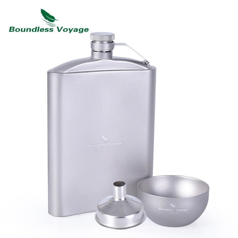 Boundless Voyage 250ml Titanium Hip Flask Sake Cup Set with Funnel Camping Picnic Sport Pocket Alcohol