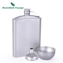 Boundless Voyage 250ml Titanium Hip Flask Sake Cup Set with Funnel Camping Picnic Sport Pocket Alcohol Whiskey Flagon Wine Mug