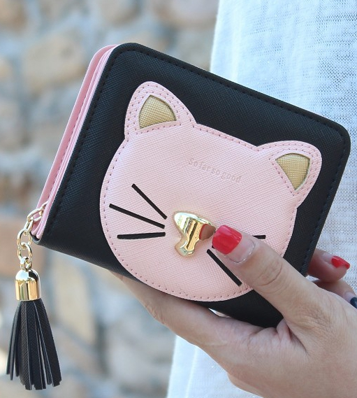 Fashion tassel short cat wallet women zipper coin purse brand designer lady small wallet Female change purse girl card holders dollar price women cute cat small wallet zipper wallet brand designed pu leather women coin purse female wallet card holder