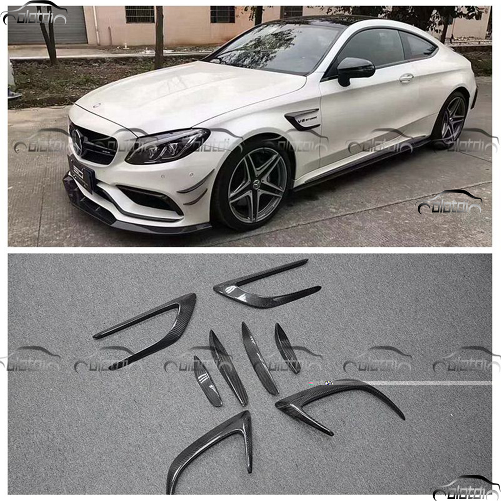 Car Styling Carbon Fiber Set Air Flow Fender Front Back Bumper Splitters Vent Wing 3M Stickers For Benz W205 2 Door C63 w205 c63 style carbon fiber car rear trunk lip spoiler wing for mercedes benz w205 4door 2015 2016