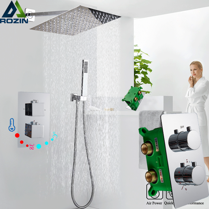 Thermostatic Shower Faucet Dual Handle Chrome Shower Set Concealed Install Bathroom Rainfall 8 10 12 16