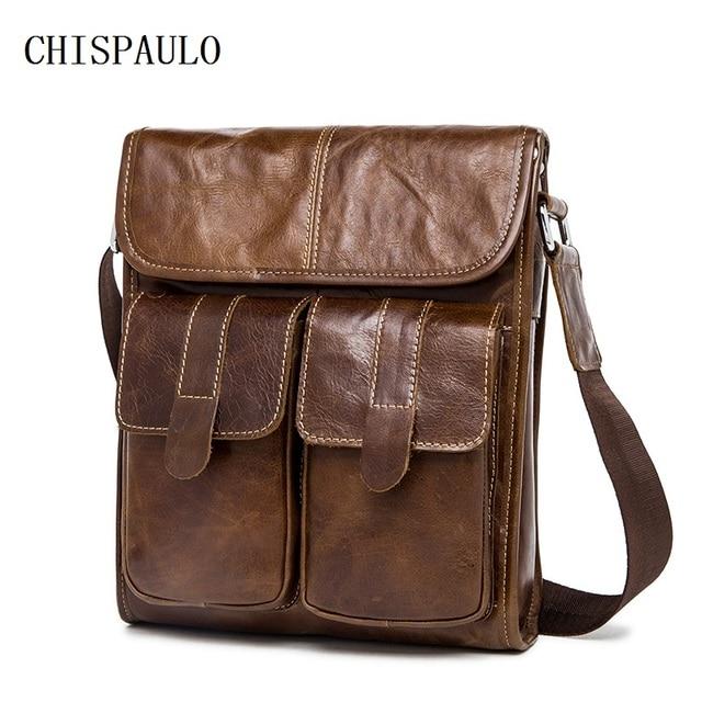 CHISPAULO Genuine Leather bag men bags men's messenger small shoulder crossbody bags for man Handbags men's leather bag  T705