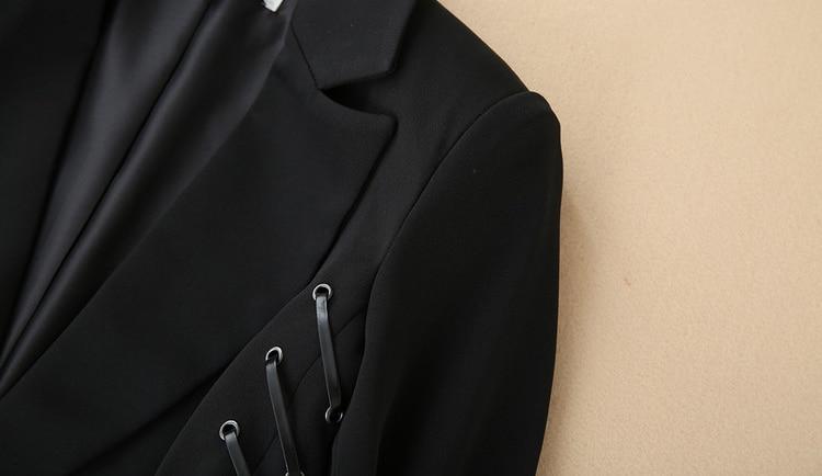 Blazer Manches Casual Traversé Truevoker Qualité Rivet Bouton Des De À Longues Noir Haute Entaillé Survêtement Un Automne Designer Femmes 1cFJ3TlK