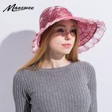Brand Women Sun Hats Flower Pattern Packable Simple Sun Visor Hat with Big  Heads Wide Brim Beach Hat UV Protection Female Caps 40db78455dc4