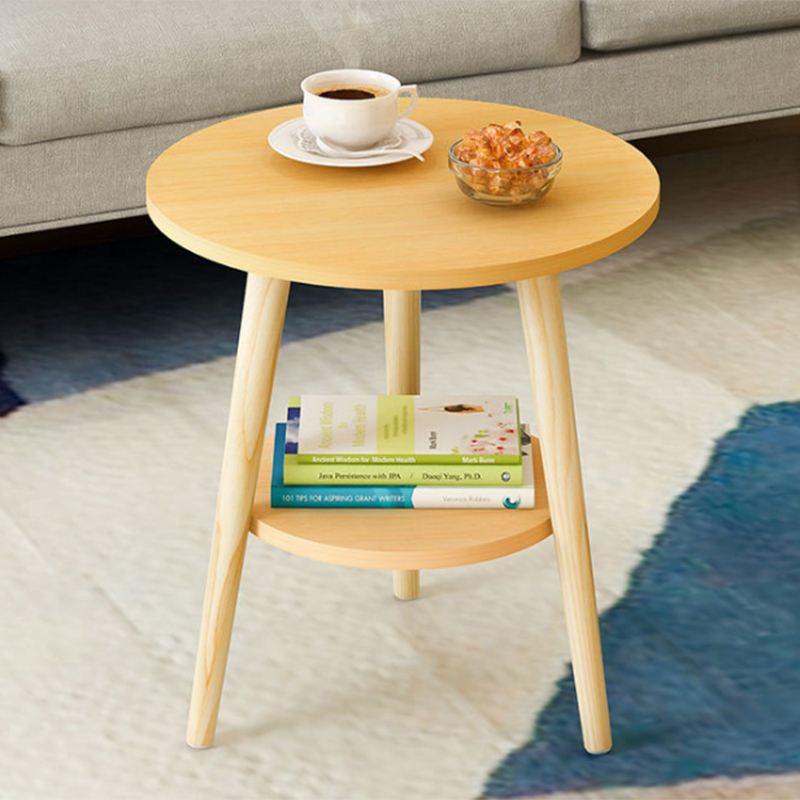 Nordic style coffee table side living room elegant solid wood furniture set triangle coffee table simple fashion round table simple modern toughened glass small round bar table living room home leisure fashion high round table