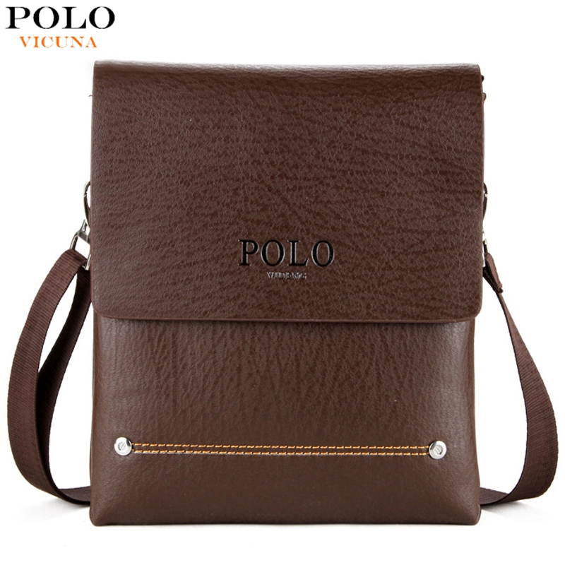 VICUNA POLO Double Main Pocket Men's Messenger Bag With 2 Rivets High Quality Small Leather Man Bag For Phone Crossbody Bag Male mobile phone arm bag with double layer pocket design for jogging