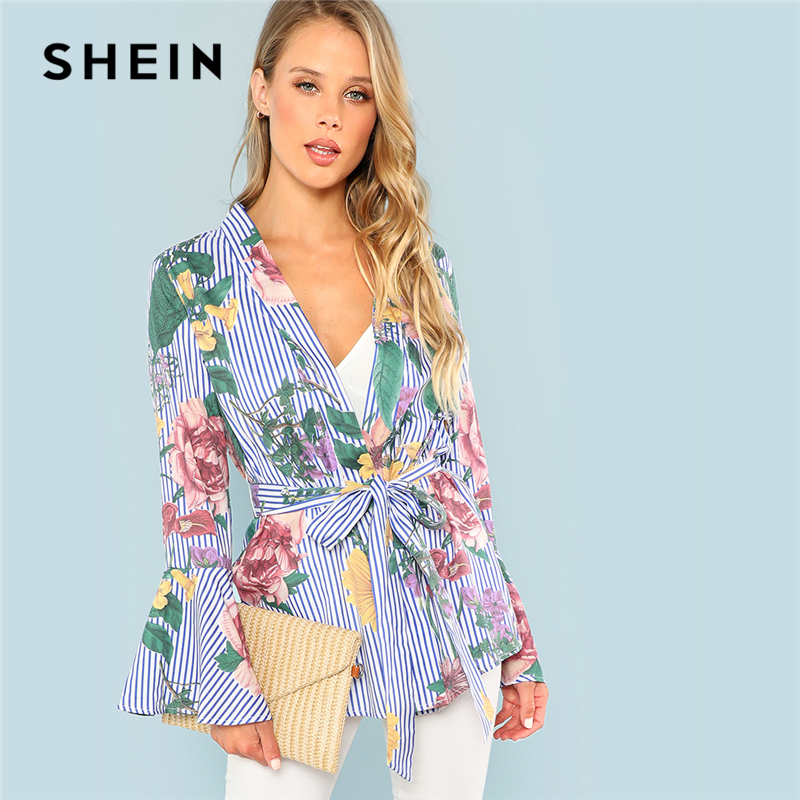SHEIN Blue Flounce Sleeve Floral Striped Print Coat Vacation Holiday Long Sleeve Belted Outer Women Autumn Bohemian Elegant Coat