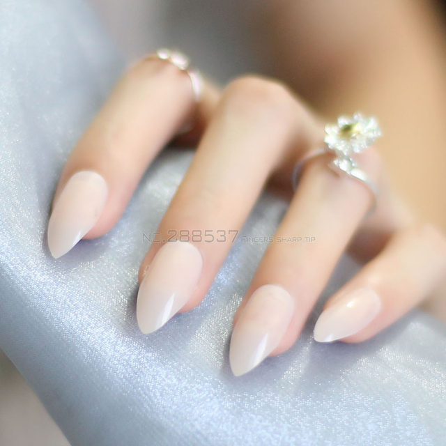 New Solid Fashion Nude Color Mountain Peak Transparent Natural Yellow False Nails 24pcs Full Cover Stiletto Acrylic JD23