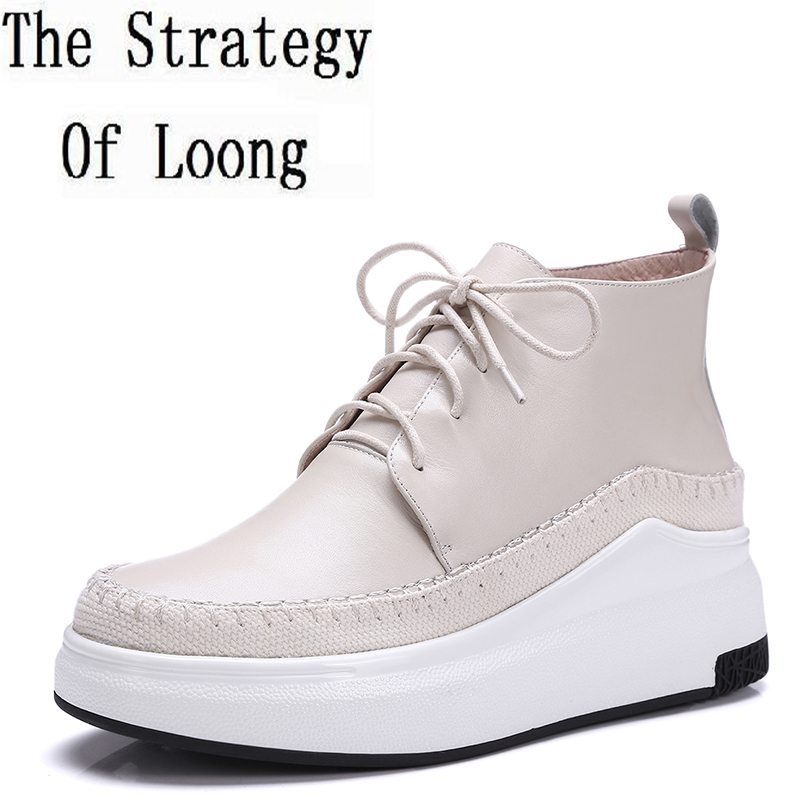 Women Genuine Leather Lace Up Casual Anti Skid Ankle Boot 2017 New Spring Autumn Patchwork Round Toe Chunky Short Boots ZY170919 short brown high quality chunky fall round toe front lace up casual ankle boots autumn shoes genuine leather women booties heel
