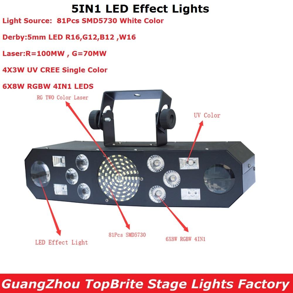 New 5IN1 Laser Flash Strobe Butterfly Derby Lights Hi Quality 6X8W RGBW 4IN1 DMX Disco Club