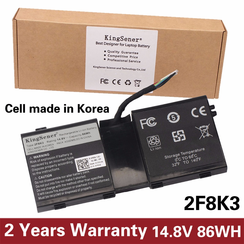 KingSener Korea Cell New 2F8K3 Laptop Battery for DELL Alienware 17 18(ALW18D-1788) M18X M17X R5 2F8K3 0KJ2PX G33TT 14.8V 86WH 11 1v 97wh korea cell new m5y0x laptop battery for dell latitude e6420 e6520 e5420 e5520 e6430 71r31 nhxvw t54fj 9cell