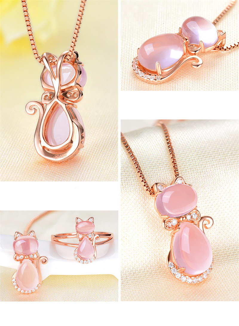 US STOCK Uloveido Necklaces Pendants Women's Rose Gold Color Cat Necklace Women Pendant Valentines Day Charms Jewelry Gift DN167