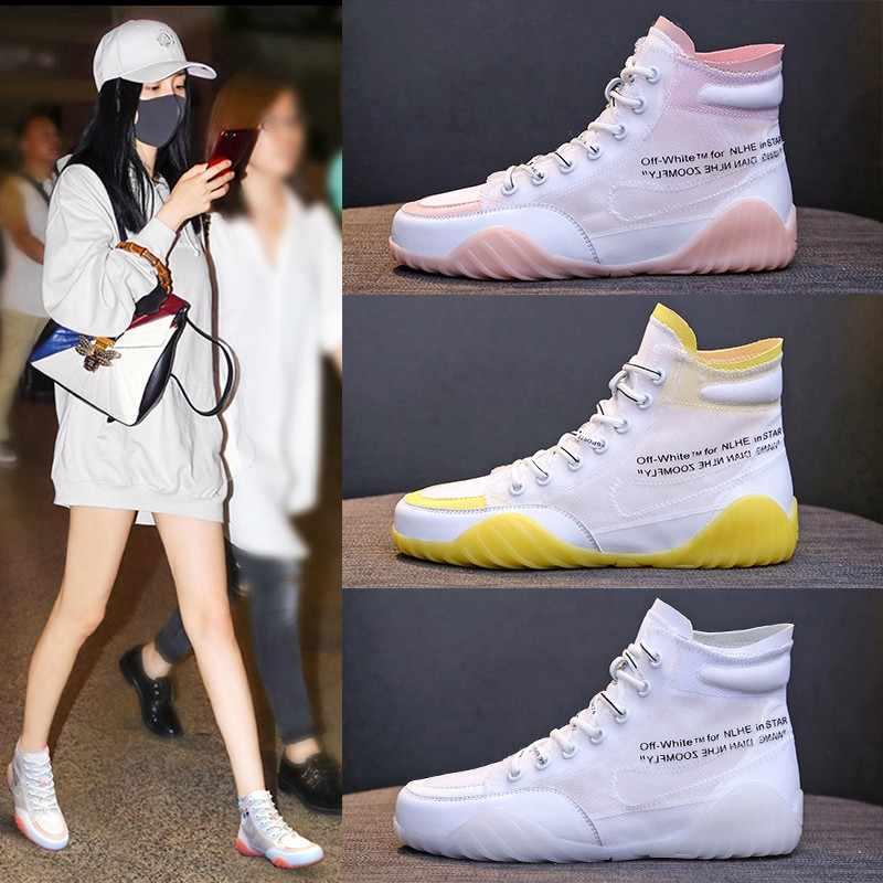 נעלי ספורט אישה נעלי 2019 קיץ חדש חלול רשת לנשימה נעליים שטוחות מזדמן פראי עבה תחתון אותיות גבוהה לעזור נעלי אבא