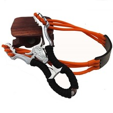 Powerful Alloy Slingshot Hunting Thick Wrist Band Catapult Sports Outdoor Bow Rubber