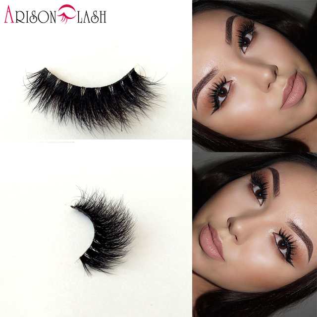 Arison lashes 3D Mink Full Strip Lashes Transparent Plastic lashes 100% Real Siberian For Women's Makeup New Style Strip Lashes