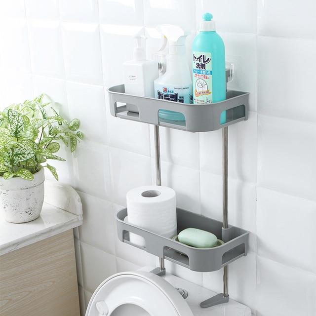 Multi Function Bathroom Free Punching Layer Washing Rack Toilet Shelf Nail Wall