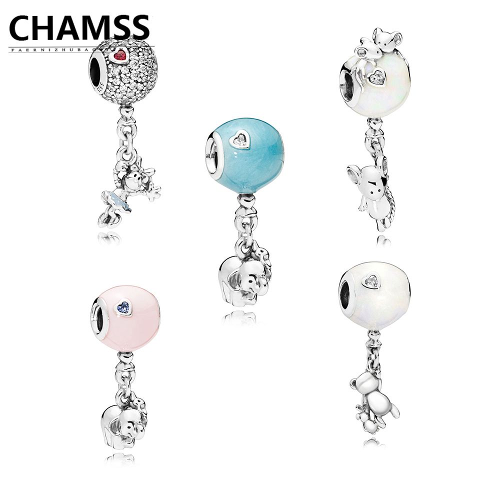 CHAMS Authentic Flying Minnie Teddy Mouse Elephant and Pink Balloon PD Beaded 925 Silver DIY Jewelry Gift Factory Outlet
