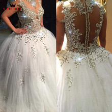 Custom Size Wedding Dresses Ball Gown Crystal Beding Luxury Romantic Fluffy Vintage Vestidos De Noiva Bridal Gown 2018 New WD08
