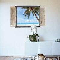 88*55 سنتيمتر 3d جدار ملصقا نافذة وهمية عرض الأزرق البحر جوز بستان شجرة البحر في الغروب الشروق مشهد جدارية المشارك SK9061A/b