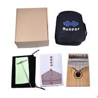 17 Key Kalimba Bamboo Thumb Piano Finger Solid Wood Kalimba Mbira with Carry Bag Xmas Musical Gift with a Hammer