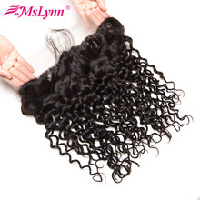 Mslynn Pre Plucked Lace Frontal Closure Brazilian Hair Water Wave 13x4 Ear To Ear With Baby Hair Free Part Human Hair Non Remy(China)