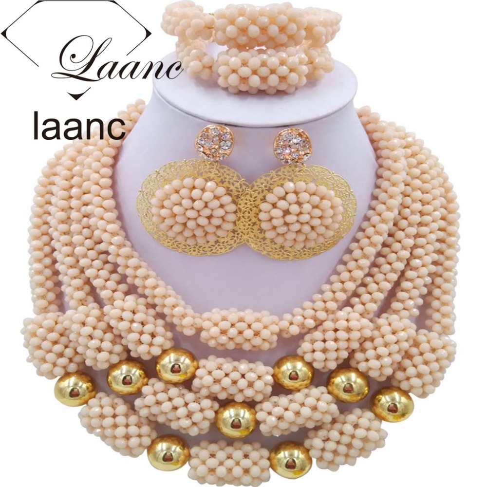 Brand Laanc Ivory Beige Costume Jewellery Necklace Nigerian Wedding African Beads Crystal Bridal Jewelry Set AL180Brand Laanc Ivory Beige Costume Jewellery Necklace Nigerian Wedding African Beads Crystal Bridal Jewelry Set AL180