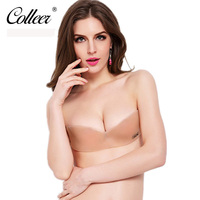 COLLEER Women Sexy Push Up Bra Front Closure Self Adhesive Invisible Silicone Seamless Strapless Bra For