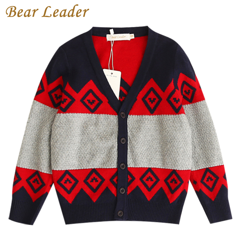 Bear Leader Boys Sweater 2017 New Autumn&Winter Geometric Jacquard Long Sleeve Cotton Sweater For Children Sweater 3-7 Years