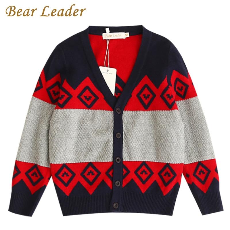 Bear Leader Boys Sweater 2017 New Autumn&Winter Geometric Jacquard Long Sleeve Cotton Sweater For Children Sweater 3-7 Years