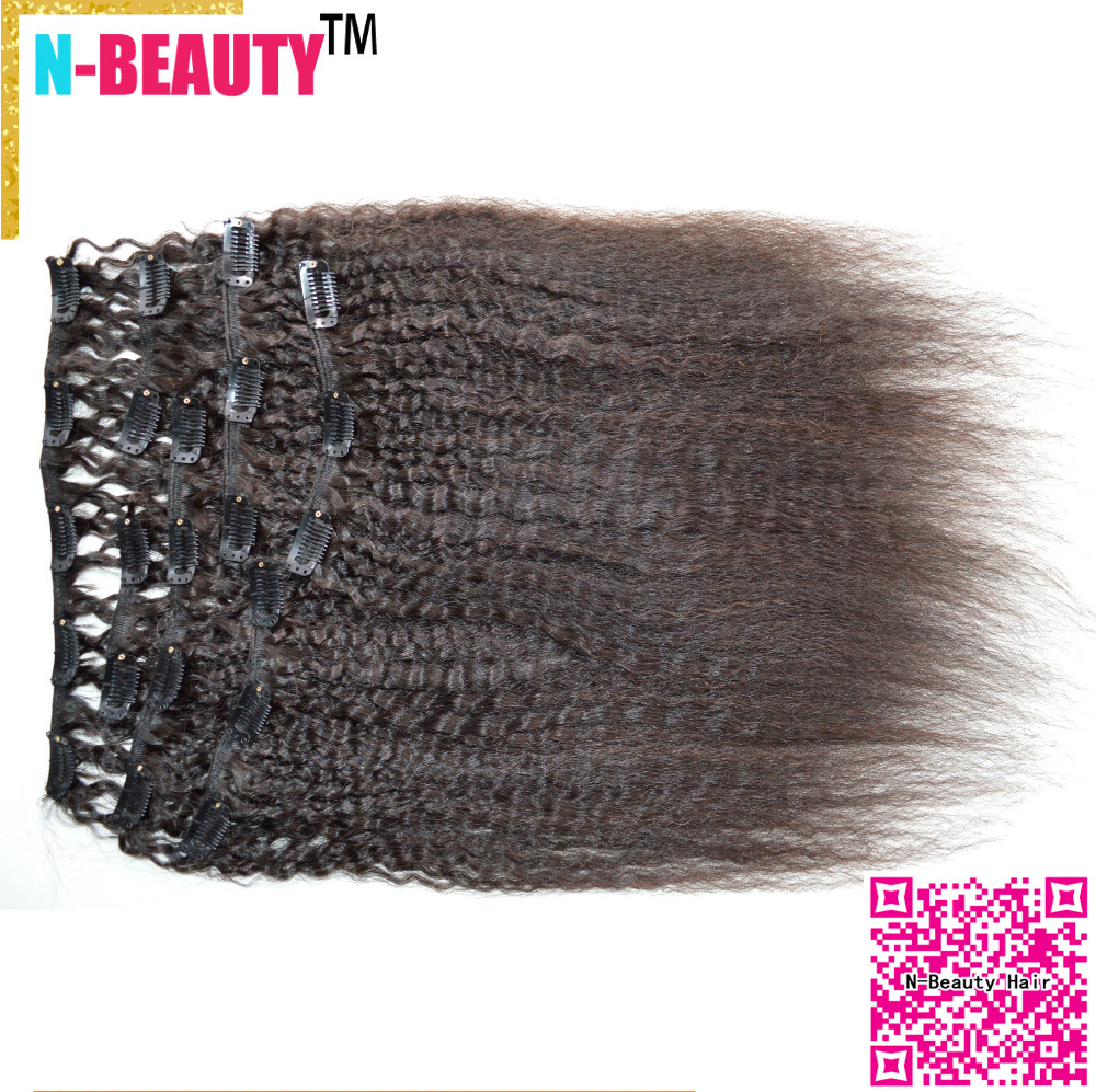 African American Coarse Yaki Clip in Human Hair Wefts 8A eurasian Virgin Hair Clip in extension Kinky Straight Clip-in Weaves