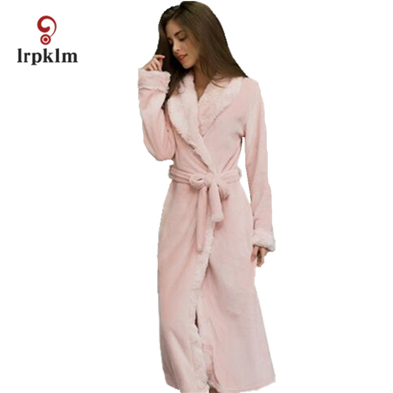 9be113006c Winter Mink Flannel Sexy Women s Sleep   Lounge Female Robes Loose Sleep  Robes For Women Pajama