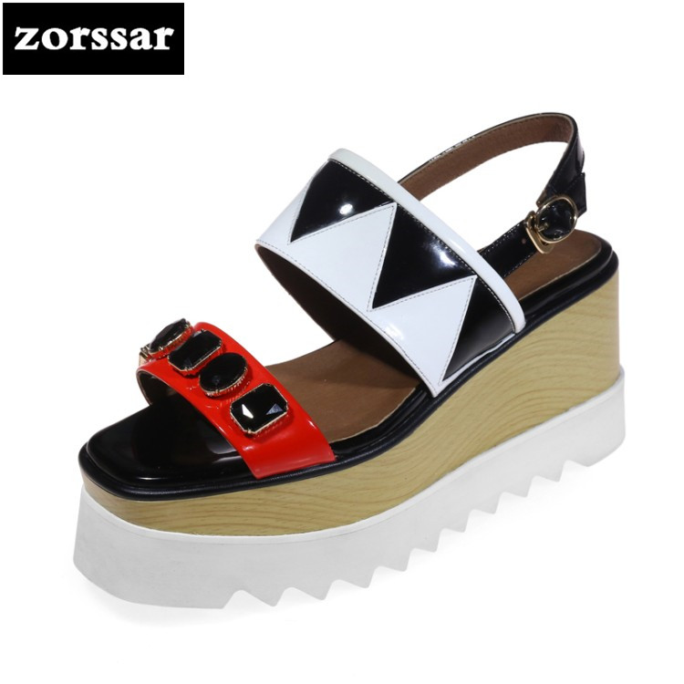{Zorssar} Genuine Leather Women Wedges Sandals Summer Shoes Open Toe platform High heels Roman Gladiator Sandals woman shoes снуд buff buff bu023gusso35