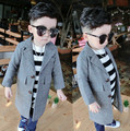 New 2017 Boys Girls Fall Spring Clothes Wool Cardigan Collar Windbreaker Children Personality Striped Woolen Coat Kids Clothing