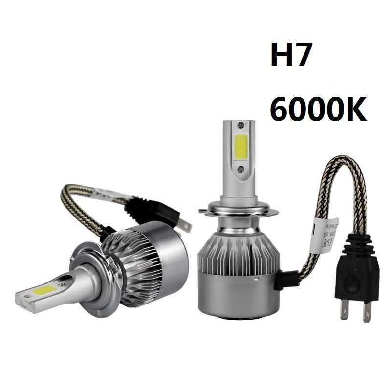 PAMPSEE C6 H7 H4 LED H13 H11 H1 9005 9006 HB3 H3 COB 72W 7600LM Car Headlights Bulb Head Lamp Fog Light White 6000K 3000K yellow