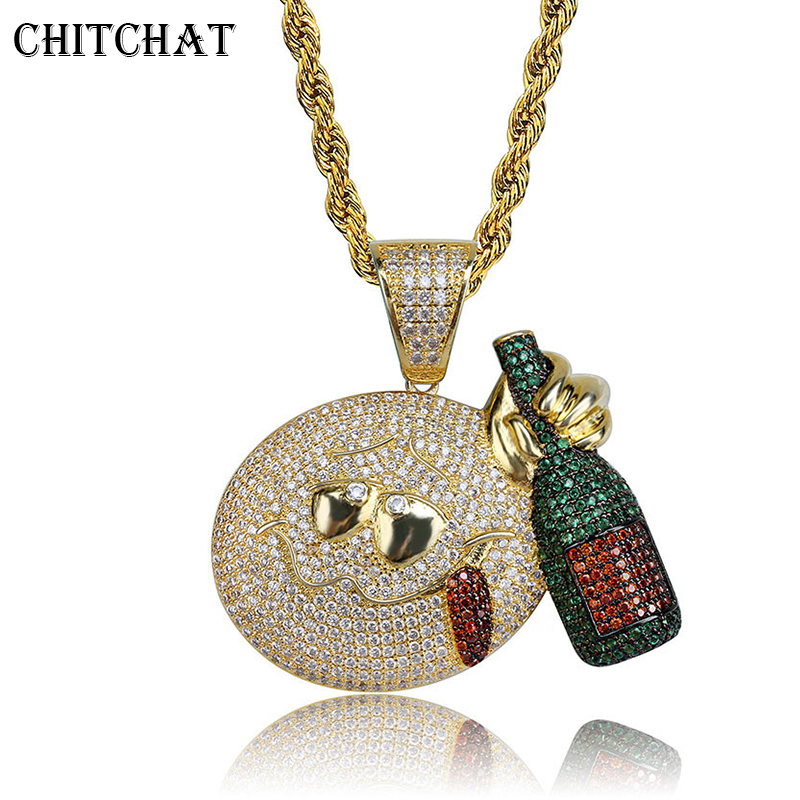 Full Iced Out Emoji Face Drink Wine Bottle Necklaces AAA CZ Bling Paved Pendant Necklace For Men's Hip hop Jewelry